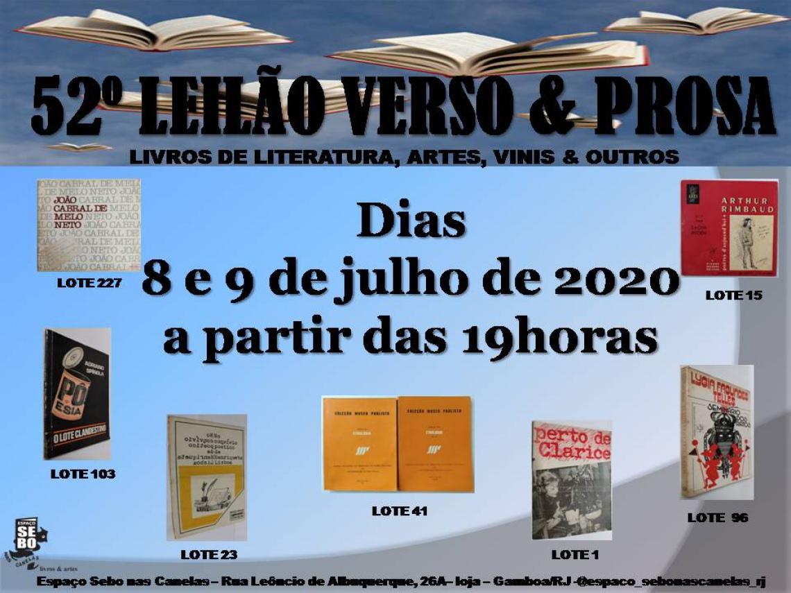 52º LEILÃO VERSO & PROSA - LITERATURA BRASILEIRA, ARTES, DIVERSOS