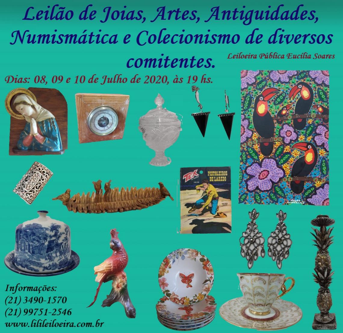 LEILÃO DE JOIAS, ARTES, ANTIGUIDADES, NUMISMÁTICA E COLECIONISMO DE DIVERSOS COMITENTES.