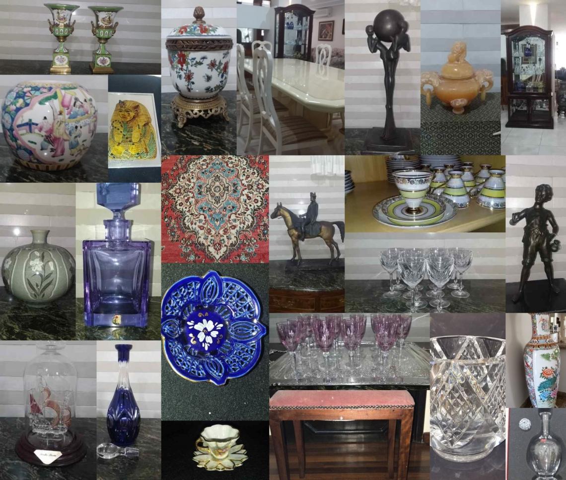 11 Leilão Objetos Antigos ,cristais, porcelana,colecionismos ,tapeçarias ,esculturas  e Móveis.
