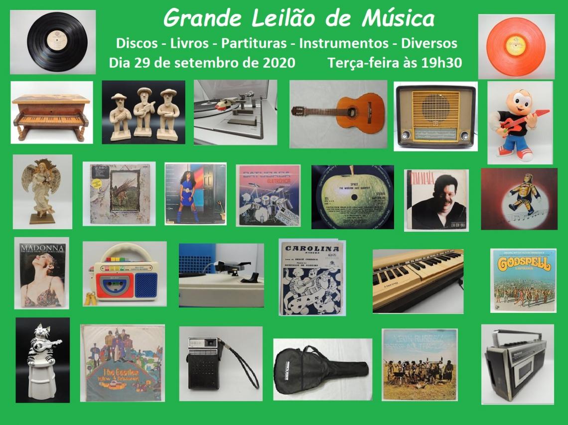 GRANDE LEILÃO DE MÚSICA - DISCOS DE VINIL, PARTITURAS, CDS, DVDS, LIVROS
