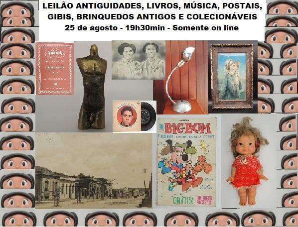 LEILÃO ANTIGUIDADES, LIVROS, MÚSICA, POSTAIS, GIBIS, BRINQUEDOS ANTIGOS E COLECIONÁVEIS - LAMBDA