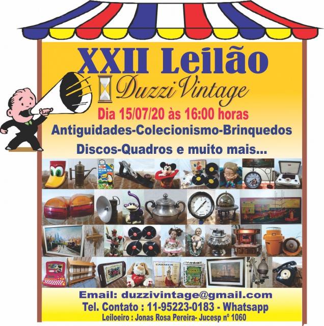 XXII LEILÃO DUZZIVINTAGE -Antiguidades-Colecionismo-Brinquedos-Discos-Quadros e muito mais...