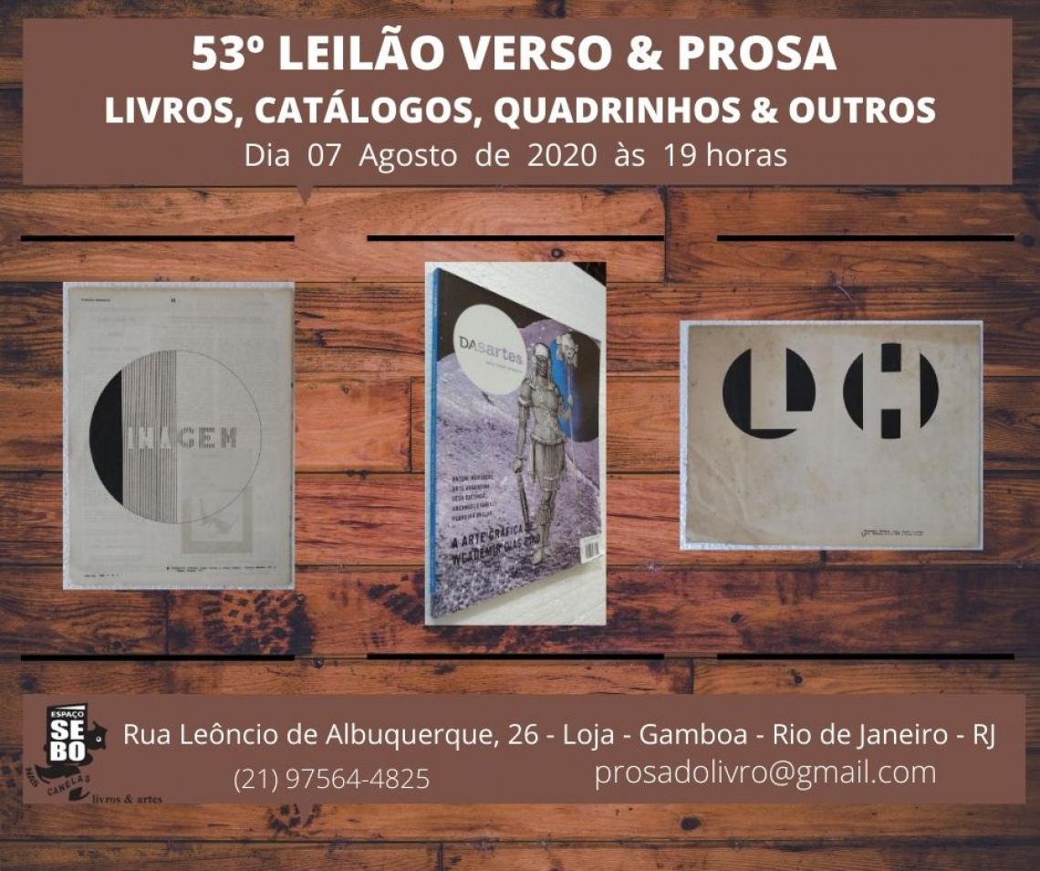 53º LEILÃO VERSO & PROSA -  LIVROS, CATÁLOGOS, QUADRINHOS & OUTROS