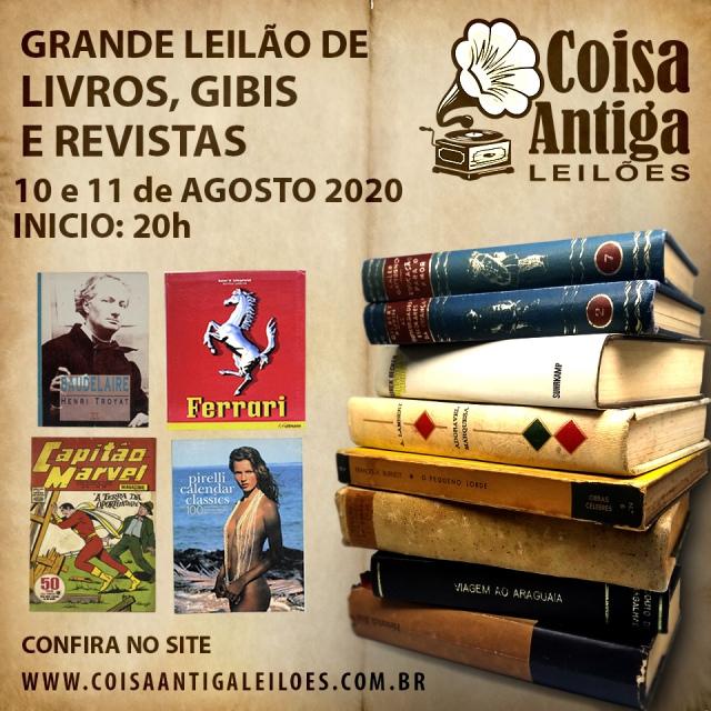 GRANDE LEILÃO DE LIVROS, GIBIS E REVISTAS - COISA ANTIGA