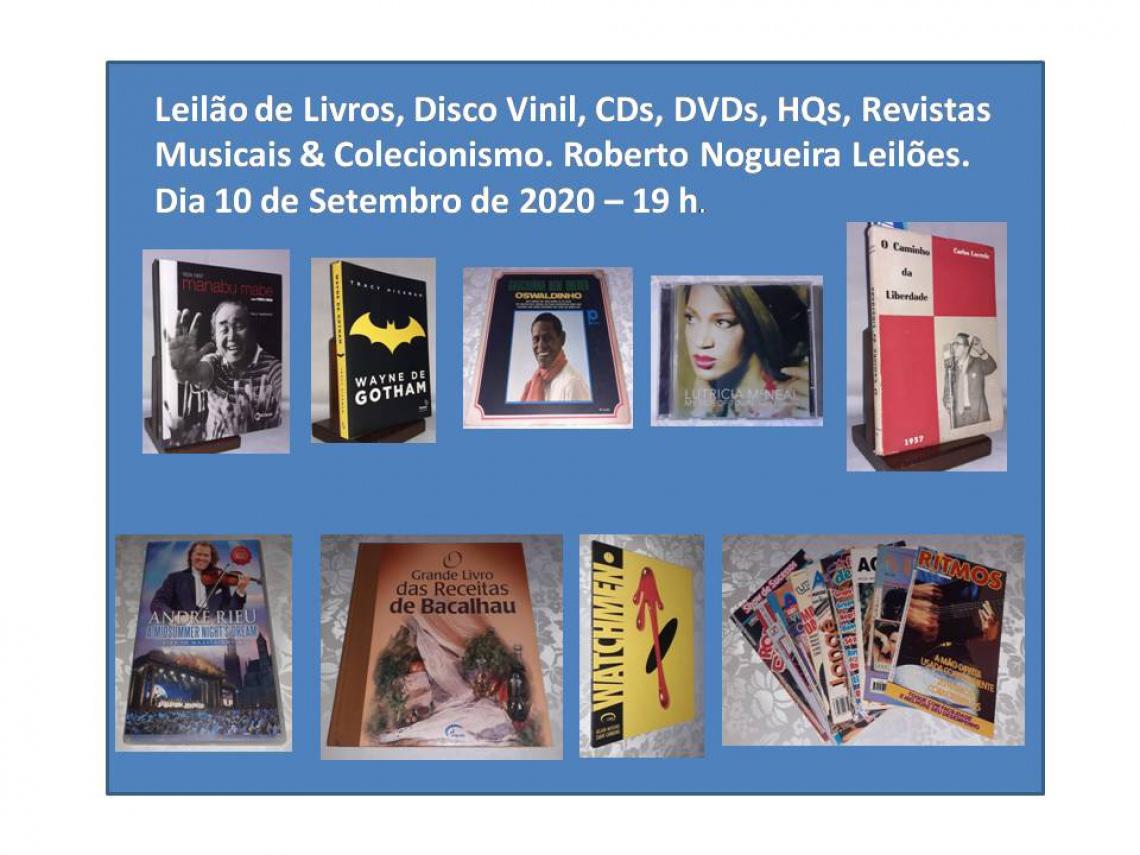 Leilão de Livros, Disco Vinil, CDs, DVDs, HQs, Revistas Musicais & Colecionismo