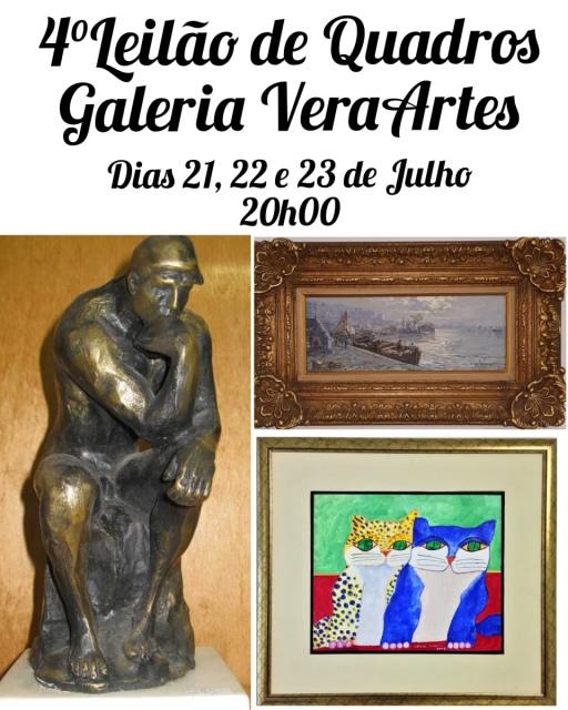 4º Leilão de Quadros - Galeria VeraArtes - 21, 22 e 23 de julho de 2020 - 20h00