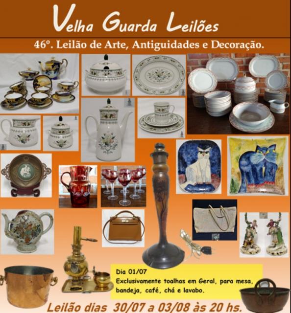 46º LEILÃO VELHA GUARDA LEILÕES - Arte, Antiguidades, Decoração e Colecionismo