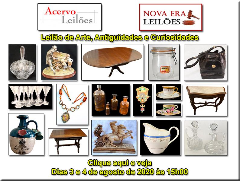 LEILÃO DE ARTE, ANTIGUIDADES E OPORTUNIDADES - ACERVO LEILÕES  E NOVA ERA  - 03 e 04/08/2020 - 15h00