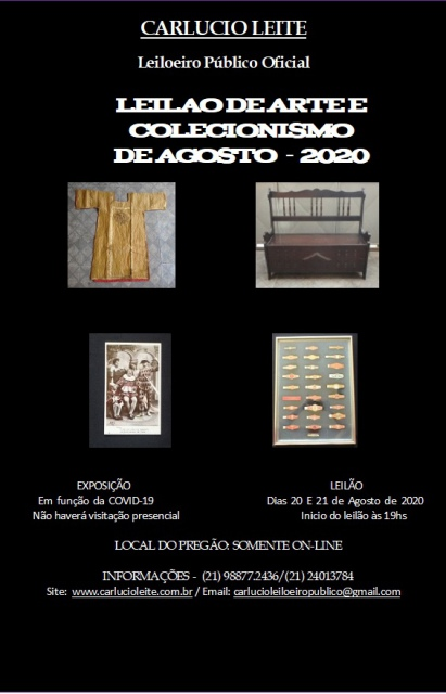 LEILÃO DE ARTE E ANTIGUIDADES DE AGOSTO 2020
