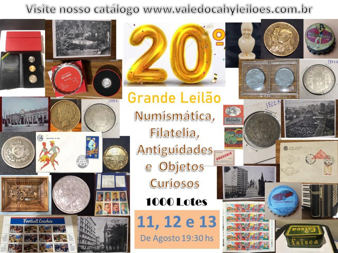 20º Grande Leilão de Numismática, Filatelia, Antiguidades e Objetos Curiosos