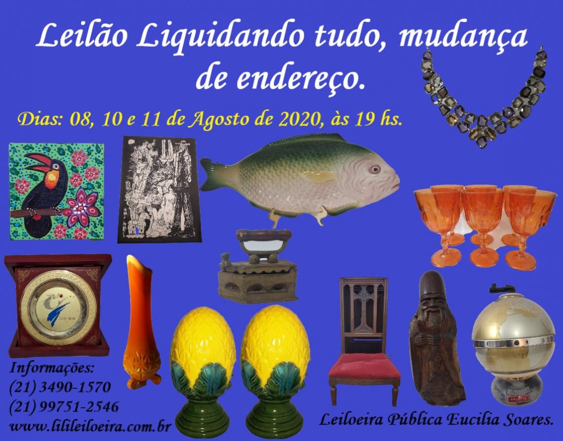 LEILÃO LIQUIDANDO TUDO, MUDANÇA DE ENDEREÇO - ARTE, COLEÇÕES, JÓIAS, NUMISMÁTICA E DECORAÇÃO