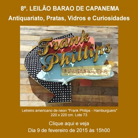 8º. Leilão Barão de Capanema - Antiquariato, Pratas, Vidros e etc - 9/02/2015