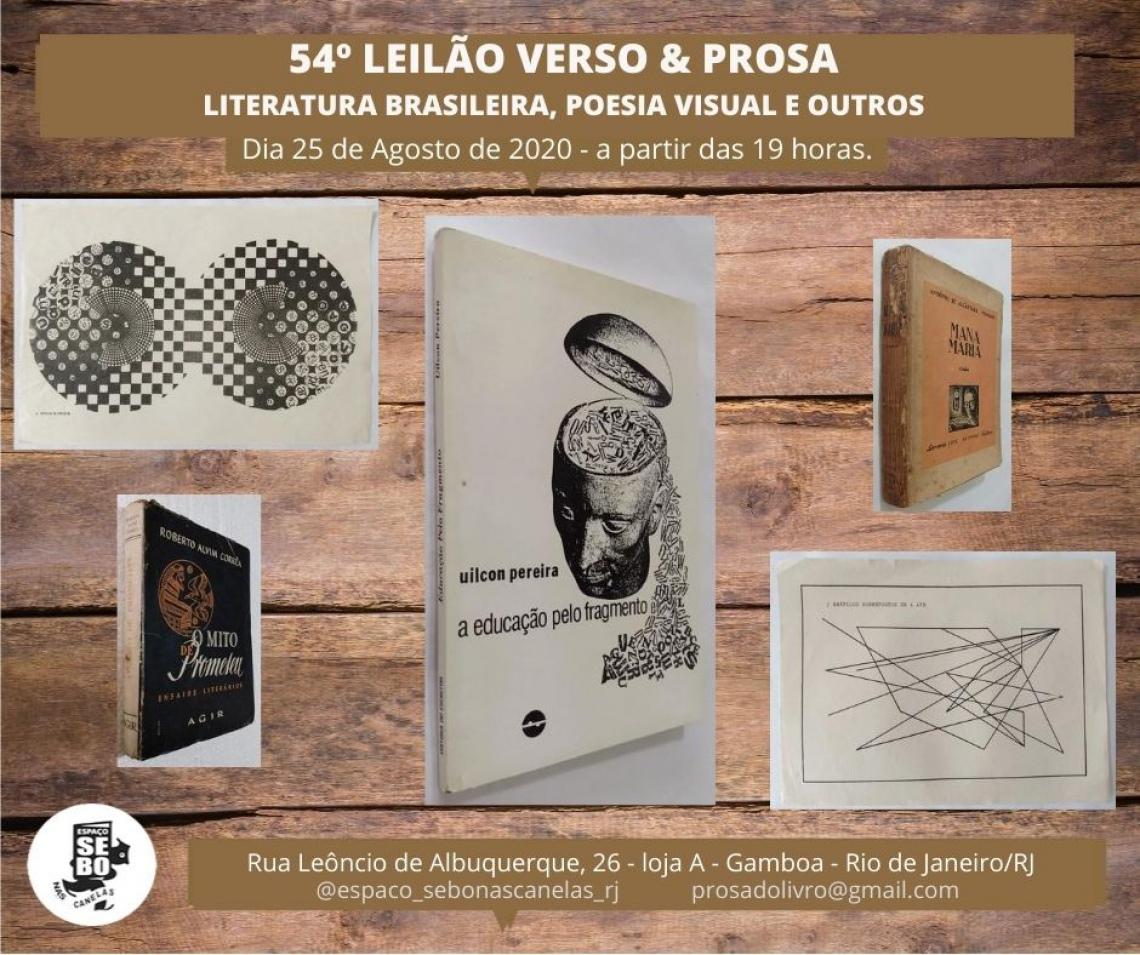 54º LEILÃO VERSO & PROSA -  LITERATURA BRASILEIRA, POESIA VISUAL E OUTROS