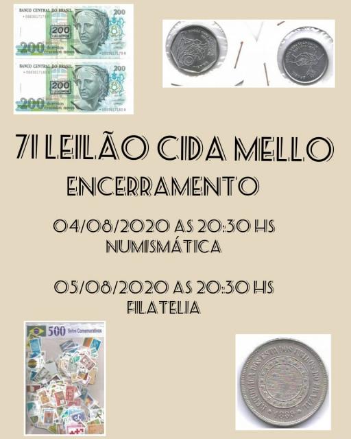 71º LEILÃO CIDA MELLO NUMISMÁTICA E FILATELIA