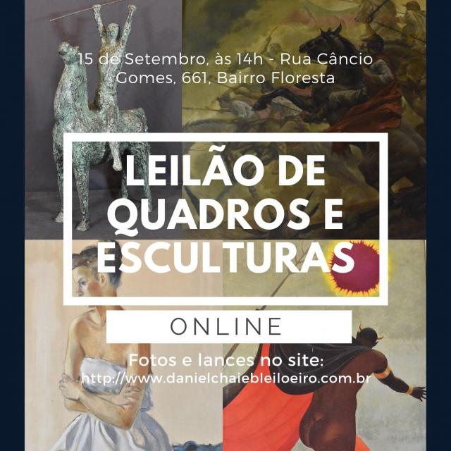 LEILÃO DE QUADROS E ESCULTURAS