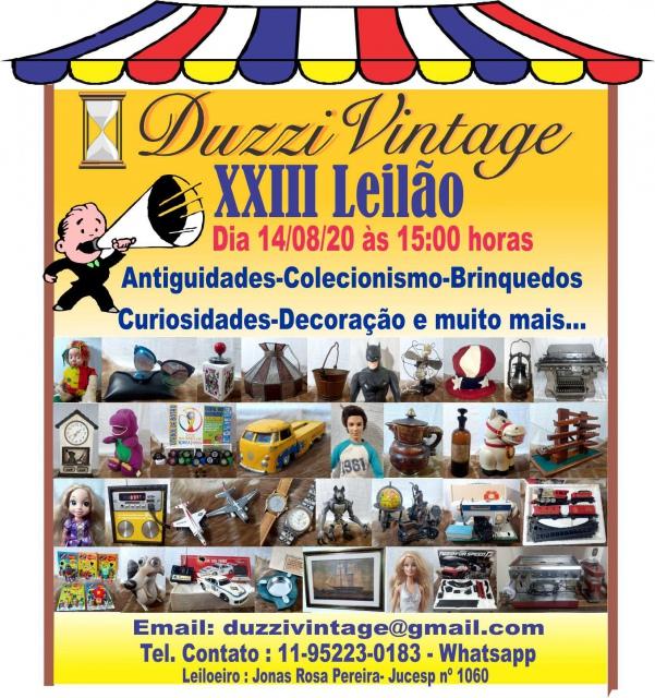 XXIII LEILÃO DUZZIVINTAGE-Antiguidades-Colecionismo-Brinquedos-Decoração e muito mais....