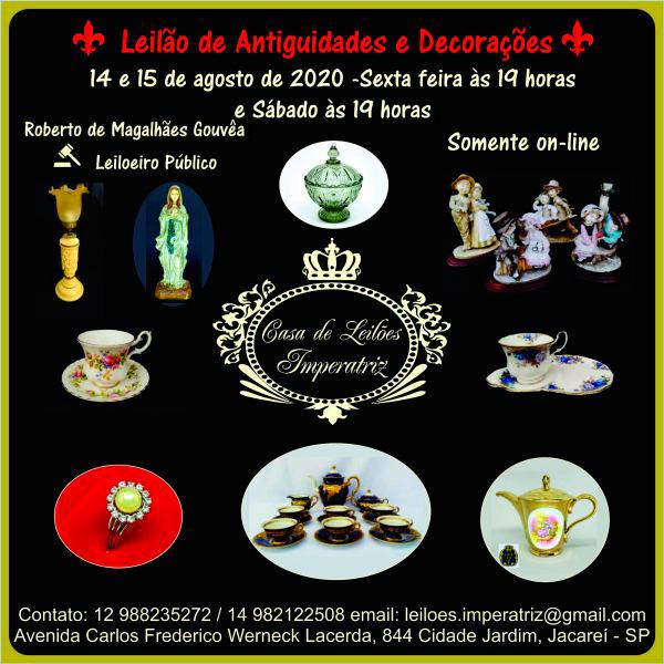 Imperatriz - Leilão de Antiguidades e Decorações - 14 e 15/08/2020 às 19h00