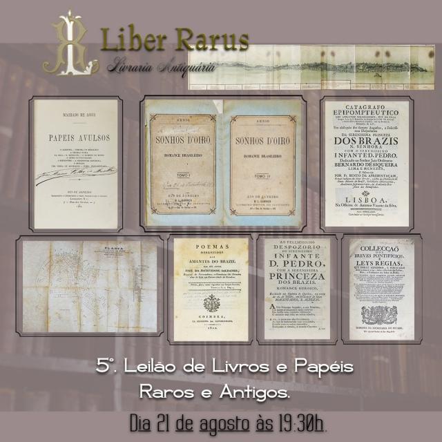5º. Leilão de Livros e Papéis Raros e Antigos - Liber Rarus - 21/08/2020 - 19h30