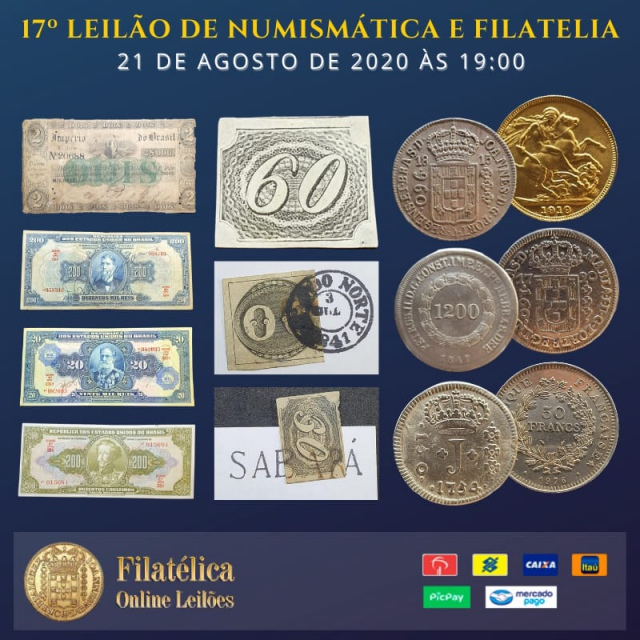 17º LEILÃO DE NUMISMÁTICA E FILATELIA - FILATÉLICA ONLINE LEILÕES