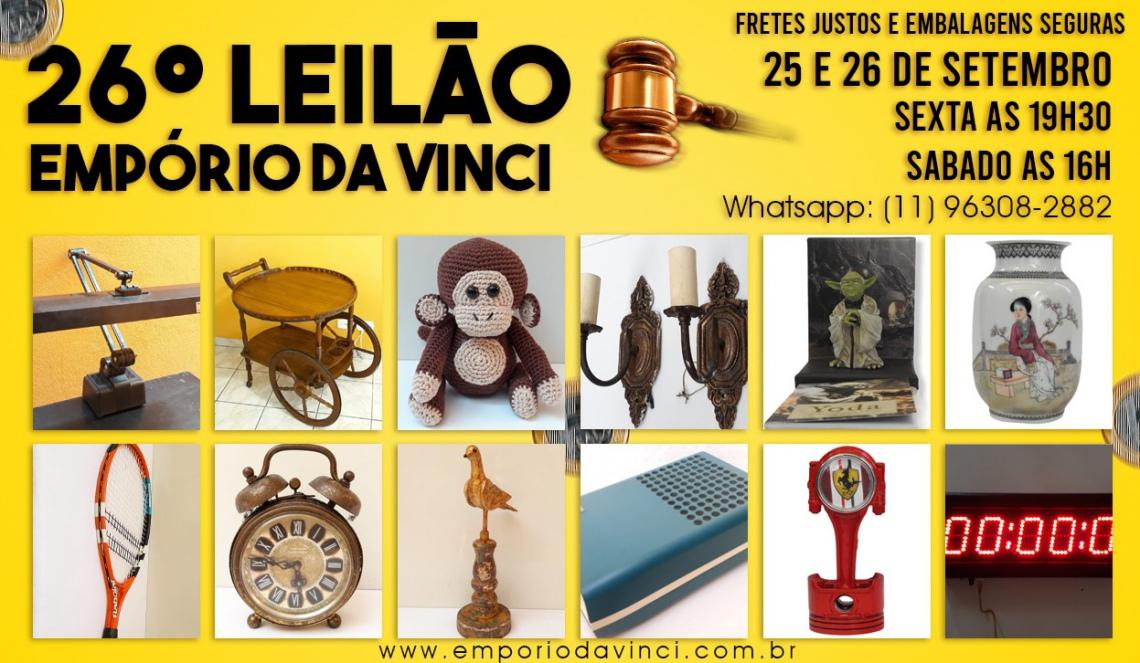 26º Leilão do Empório da Vinci - Numismática , Cacarecos, Brinquedos, Arte Sacra e Oportunidades.