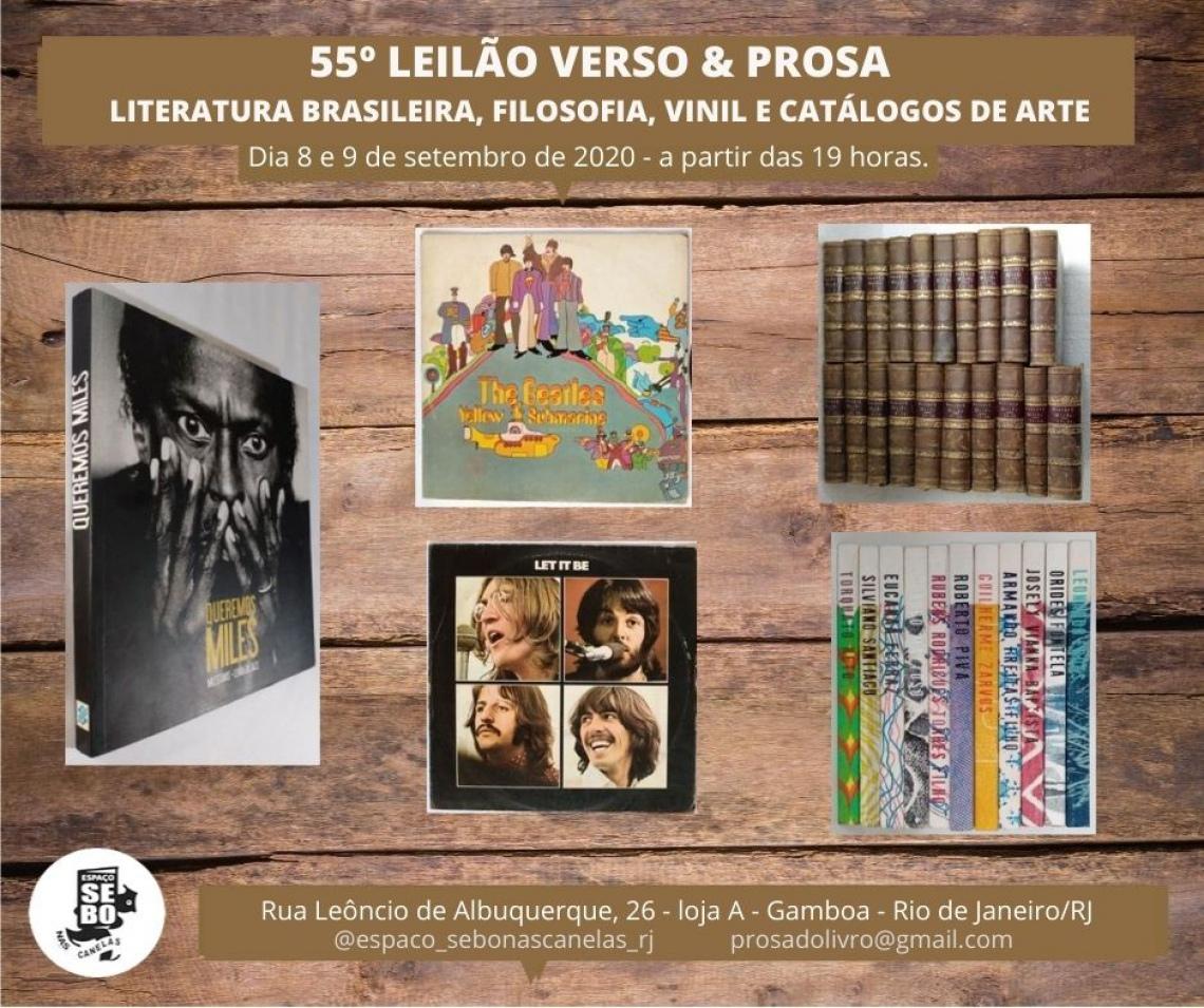 55º LEILÃO VERSO & PROSA - LITERATURA BRASILEIRA, FILOSOFIA, VINIL E CATÁLOGOS DE ARTE