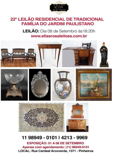 22º LEILÃO RESIDENCIAL DE TRADICIONAL FAMÍLIA DO JARDIM PAULISTANO