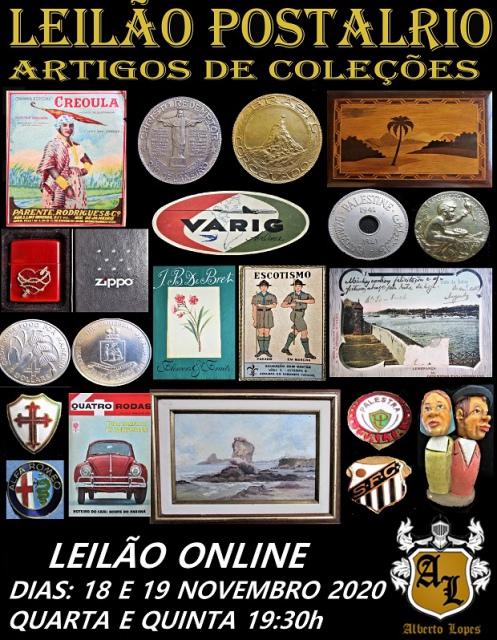 LEILÃO POSTALRIO ARTIGOS DE COLEÇÕES,  ARTES E ANTIGUIDADES