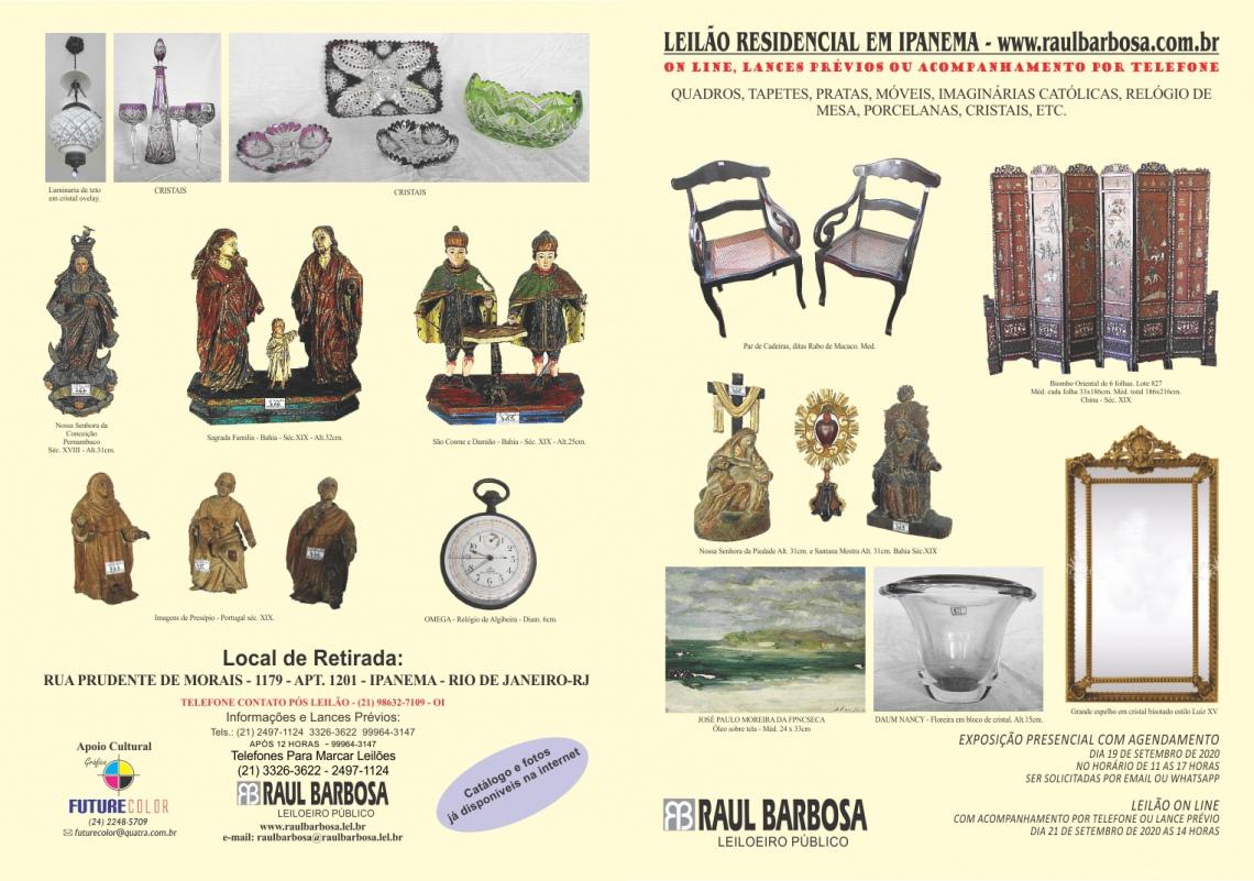1) LEILÃO ESPÓLIO DE NATERCIO PEREIRA E OUTROS COMITENTES 2) LEILÃO RESIDENCIAL EM IPANEMA