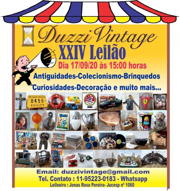 XXIV LEILÃO DUZZIVINTAGE-Antiguidades-Colecionismo-Brinquedos-Decoração e muito mais....