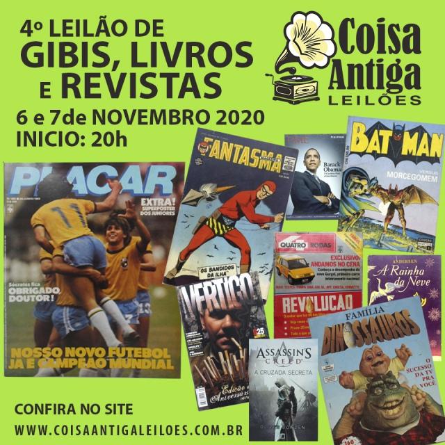 4º LEILÃO DE GIBIS, LIVROS E REVISTAS - COISA ANTIGA