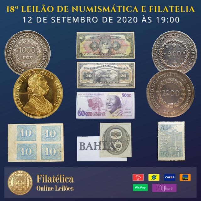 18º LEILÃO DE NUMISMÁTICA E FILATELIA - FILATÉLICA ONLINE LEILÕES