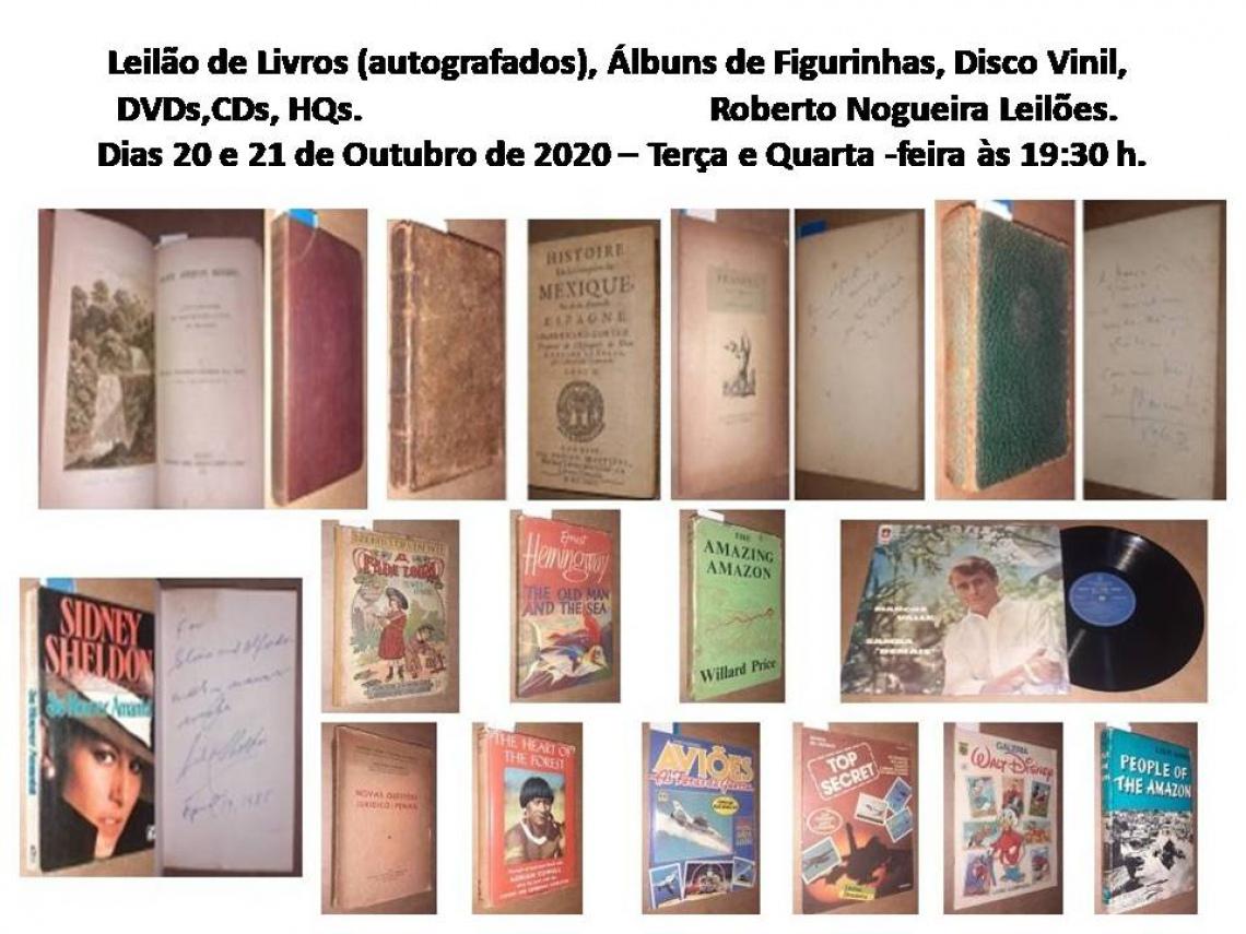 Leilão de Livros (autografados), Álbum de Figurinhas, Disco Vinil, DVDs, CDs, HQs.