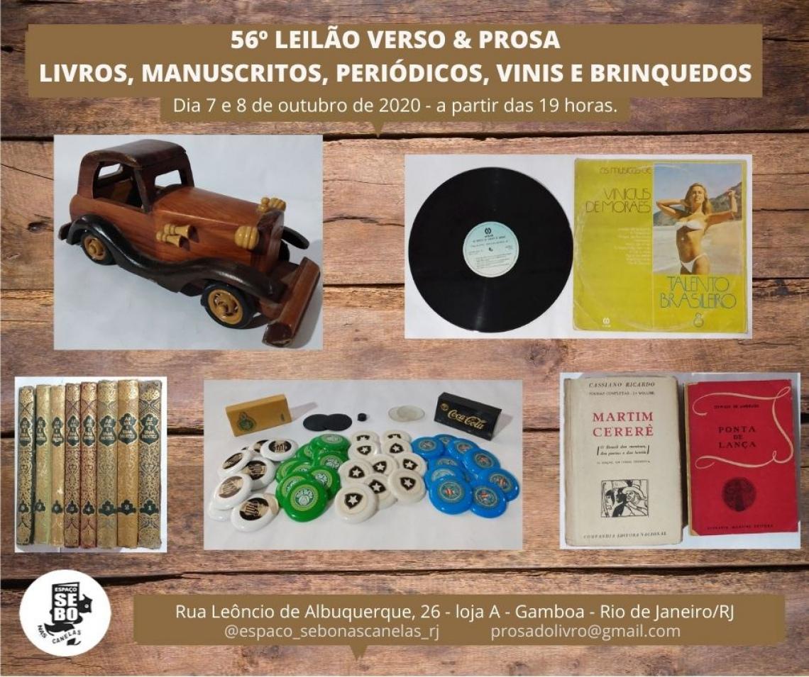 56º LEILÃO VERSO & PROSA - LIVROS, MANUSCRITOS, PERIÓDICOS, VINIS E BRINQUEDOS