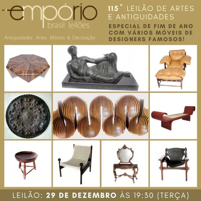 115º Leilão de Artes & Antiguidades - Especial de Fim de Ano Com Vários Móveis de Designers Famosos!