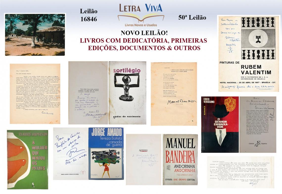 50º LEILÃO LETRA VIVA - LIVROS COM DEDICATÓRIA, PRIMEIRAS EDIÇÕES,  DOCUMENTOS & OUTROS