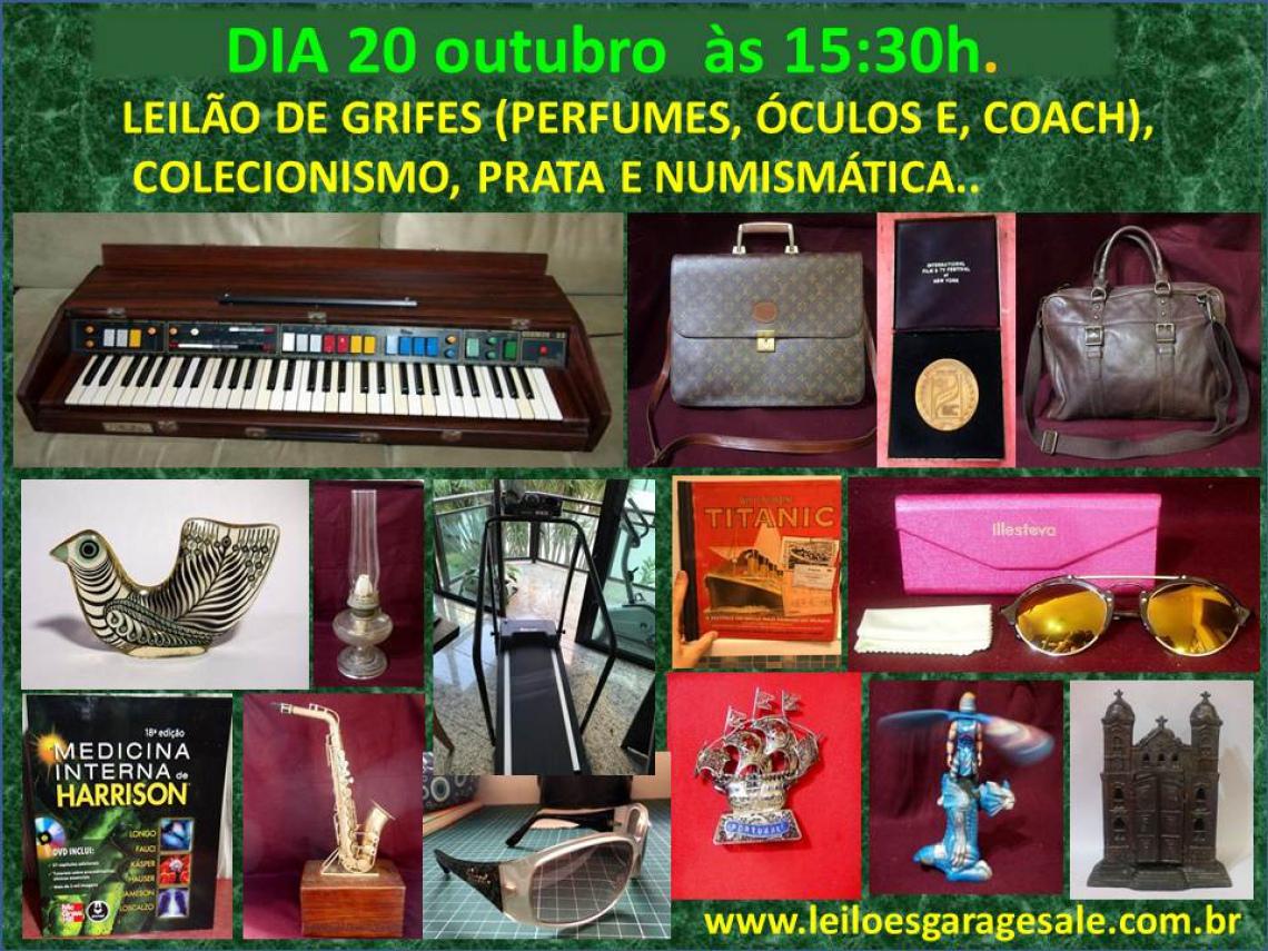 LEILÃO DE GRIFES (PERFUMES, ÓCULOS E BOLSAS), COLECIONISMO, PRATA E NUMISMÁTICA.
