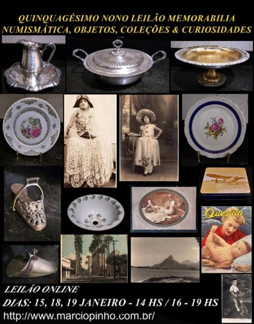 Quinquagésimo-Oitavo Leilão Memorabilia, Numismática, Objetos, Coleções e Curiosidades