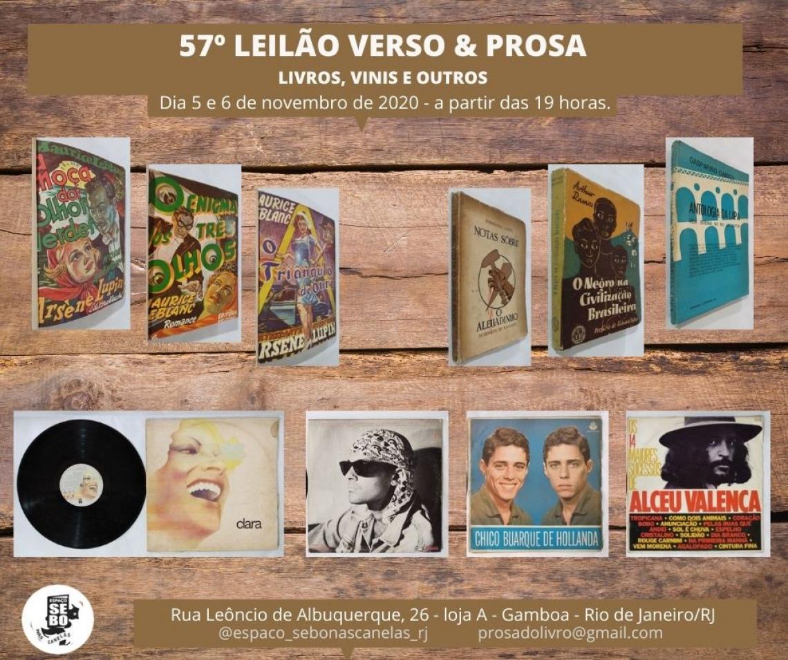 57º LEILÃO VERSO & PROSA -  LIVROS, VINIS E OUTROS