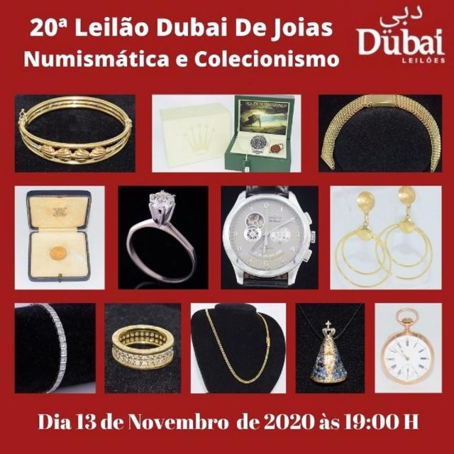 20º LEILÃO DUBAI DE JOIAS, NUMISMÁTICA E COLECIONISMO.