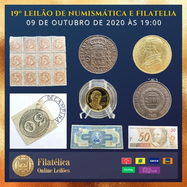 19º LEILÃO DE NUMISMÁTICA E FILATELIA - FILATÉLICA ONLINE LEILÕES