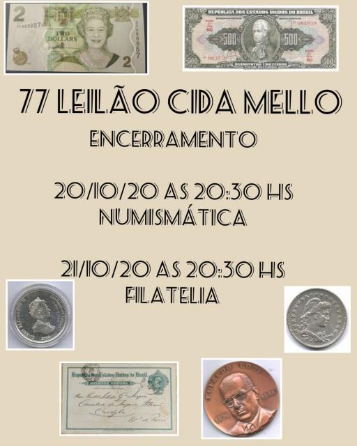 77º LEILÃO CIDA MELLO NUMISMÁTICA E FILATELIA