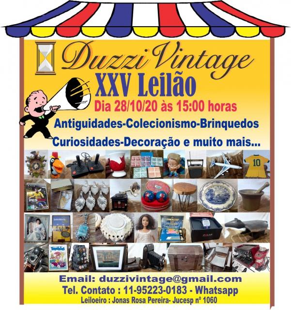 XXV LEILÃO DUZZIVINTAGE-Antiguidades-Colecionismo-Brinquedos-Decoração e muito mais....