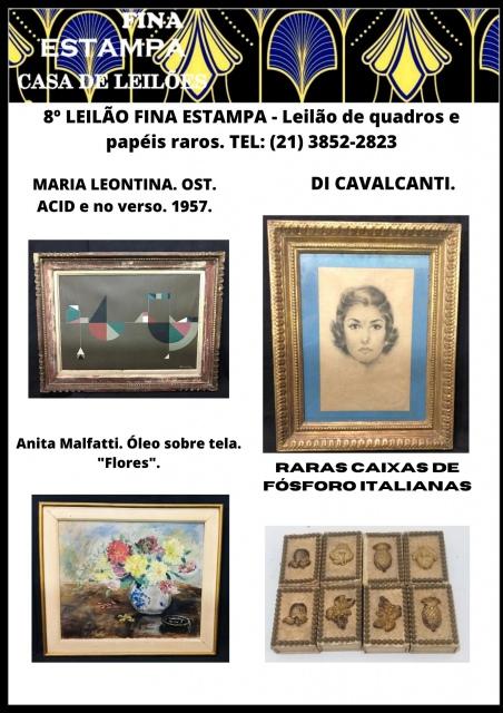 8º LEILÃO FINA ESTAMPA - Esculturas, quadros e papéis raros - Leilão de quadros. TEL: (21) 3852-2823