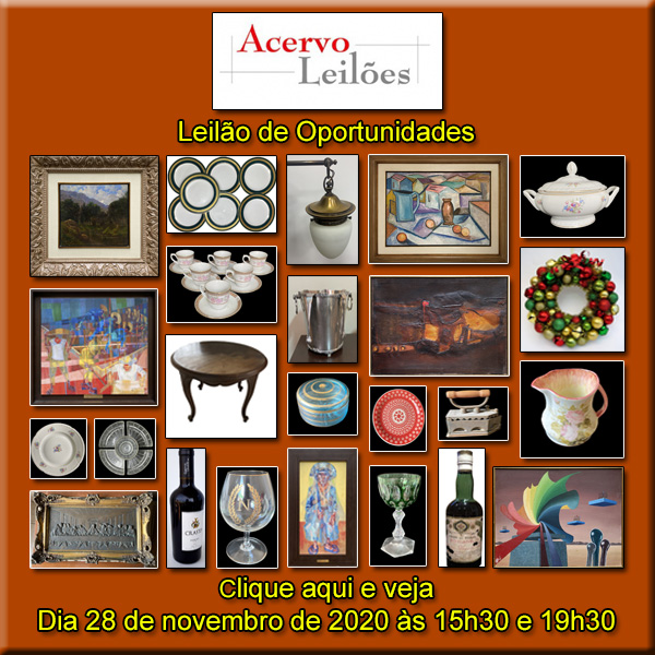 LEILÃO DE OPORTUNIDADES - ACERVO LEILÕES - 28/11/2020 - às 15h30 e 19h30