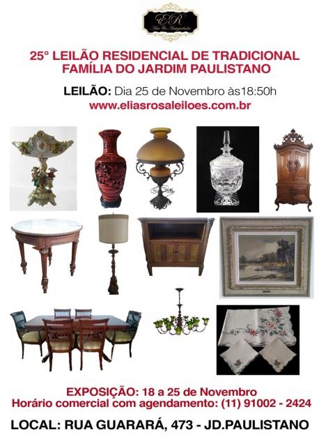 25º LEILÃO RESIDENCIAL DE TRADICIONAL FAMÍLIA DO JARDIM PAULISTANO