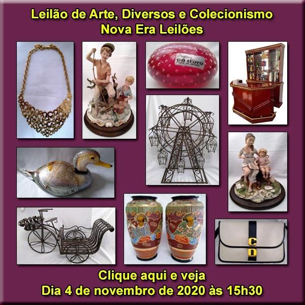 LEILÃO DE ARTE, DIVERSOS E COLECIONISMO - Dia 4/11 (Quarta-feira) às 15h30