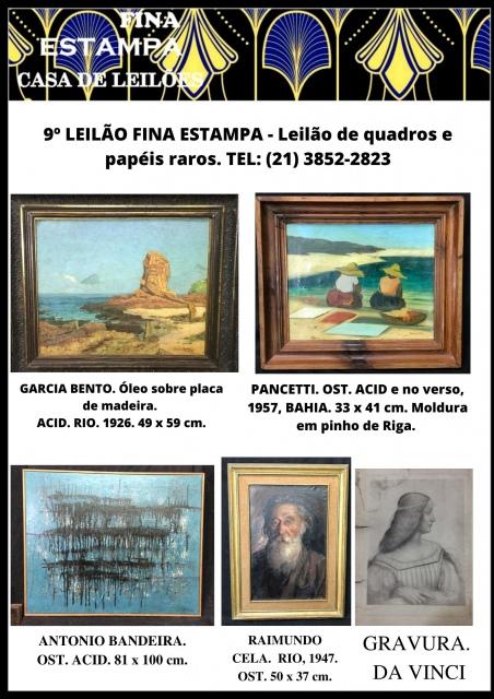 9º LEILÃO FINA ESTAMPA - Esculturas, quadros e papéis raros - Leilão de quadros. TEL: (21) 3852-282