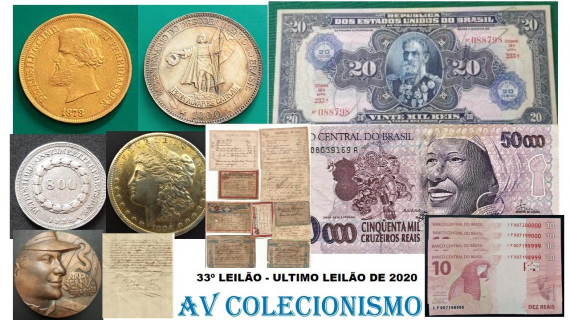 33º Leilão - AVCO - Filatelia  - Numismática - Colecionáveis
