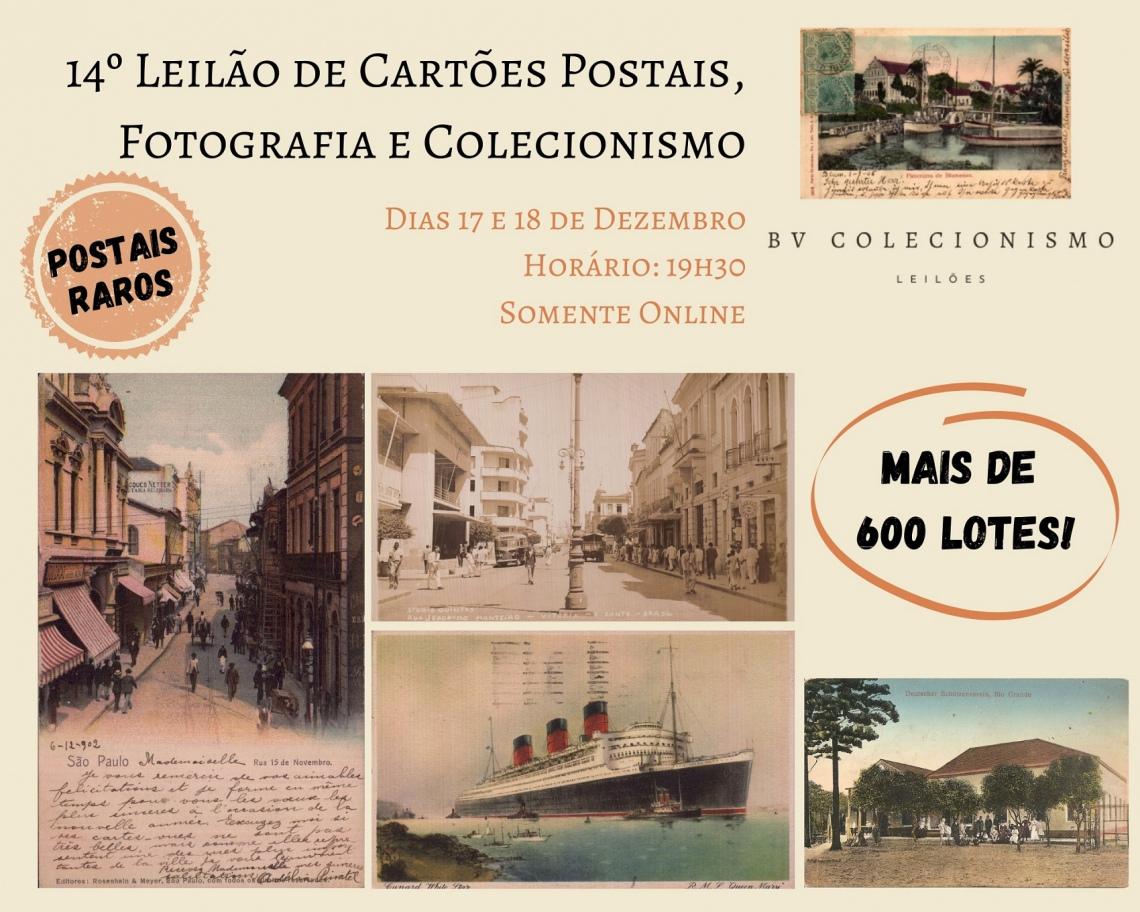 14º LEILÃO DE CARTÕES POSTAIS, FOTOGRAFIA E COLECIONISMO