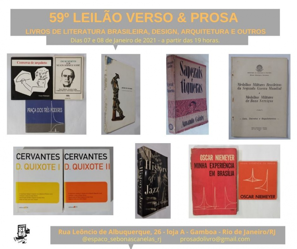 59º LEILÃO VERSO & PROSA -  LIVROS DE LITERATURA BRASILEIRA, DESIGN, ARQUITETURA E OUTROS